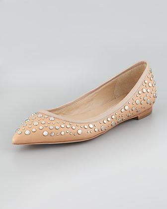 Diane von Furstenberg Ara Studded Pointed-Toe Skimmer Flat, Natural