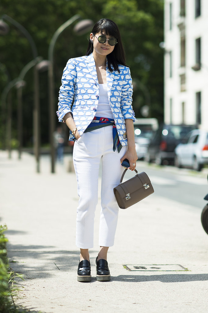 She couldn't have picked a more striking counterpart for her printed blazer than white pants. Source: Le 21ème | Adam Katz Sinding