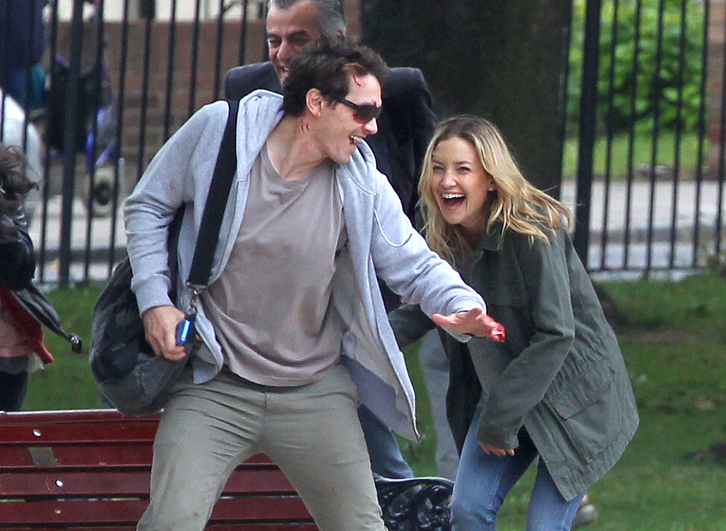 Kate Hudson and James Franco had a laugh together on the London set of Good People.