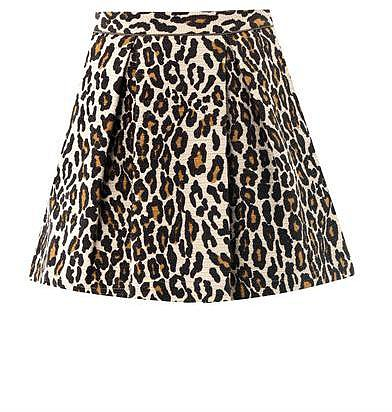 Sea Leopard-print cotton mini skirt