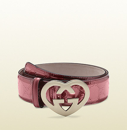 shiny guccissima with heart-shaped G buckle
