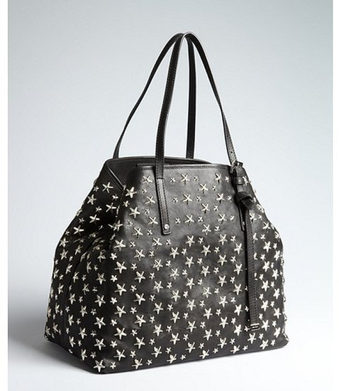 Jimmy Choo black leather star studded 'Sasha' top handle handbag