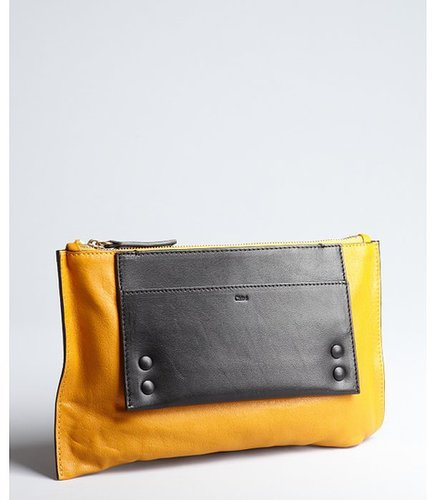 Chloe mustard and black leather colorblock zipper pouch clutch