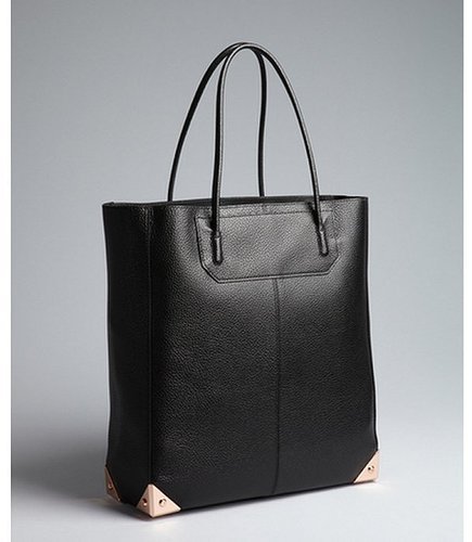 Alexander Wang black pebbled leather reinforced corner 'Prisma' tote bag with pouchette