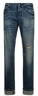 Dolce And Gabbana DOLCE AND GABBANA 16 Rise Blue Stitch Distressed Stonewash Jean