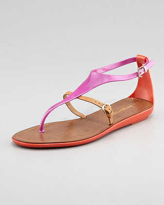 Sergio Rossi Rubber Thong Sandal, Pink/Orange
