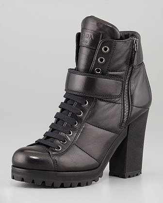 Prada Linea Rossa Lace-Up Ankle-Boot, Black