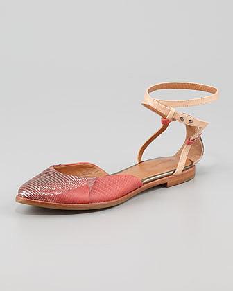Rachel Roy Ankle-Wrap Lizard Flat Sandal
