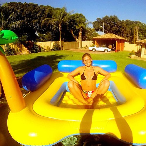 """Bar Refaeli snapped a photo in her """"yellow submarine"""" while hanging in her bikini during a trip to Tel Aviv, Israel. Source: Instagram user barrefaeli"""