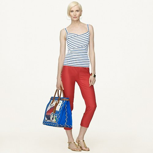 Ralph Lauren Black Label Striped Cross-Front Tank