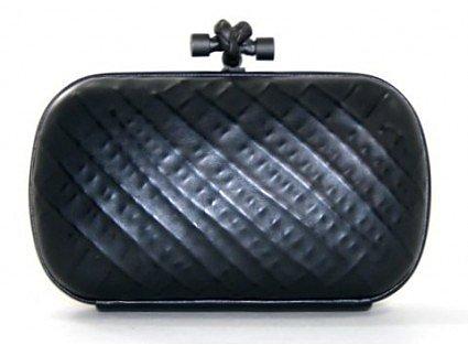 pristine (PR) Bottega Veneta Black Leather Knot Clutch- Limited Edition