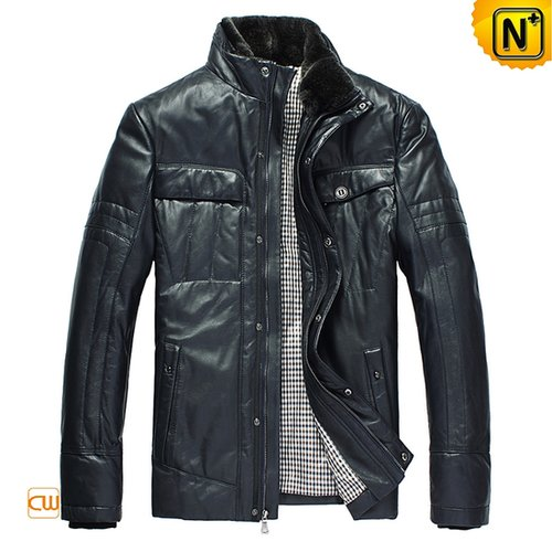 Blue Leather Down Jacket CW832203 - cwmalls.com