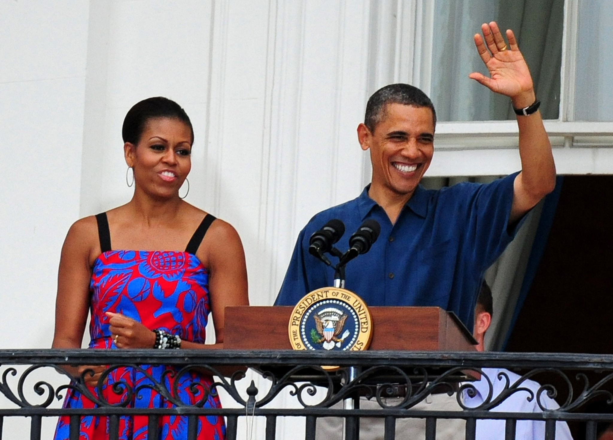 Michelle and Barack enjoyed themselves as the president greeted military families in 2011.
