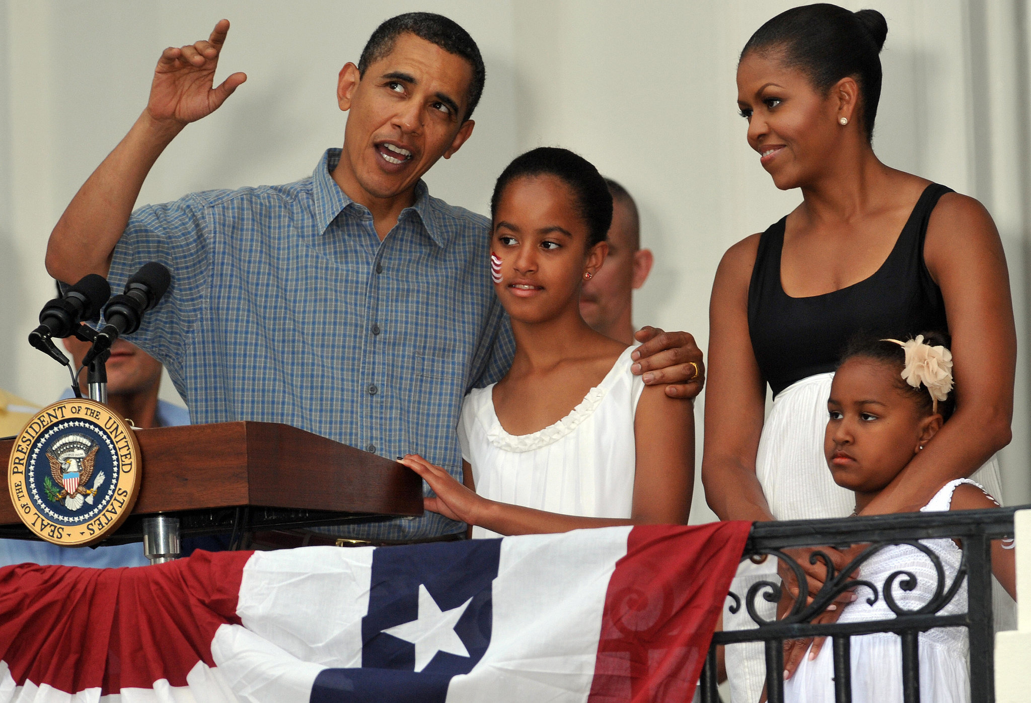 The Obamas kept close during the 2009 event.