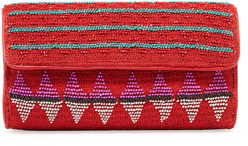 Nanette Lepore Beaded Holiday Clutch, Red
