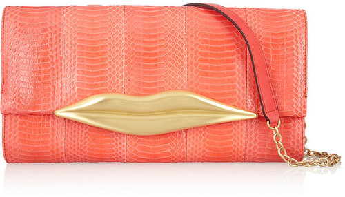 Diane von Furstenberg Carolina Lips snake and leather clutch
