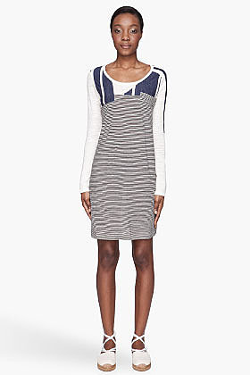 SEE BY CHLOE Cream striped boatneck t-shirt dress