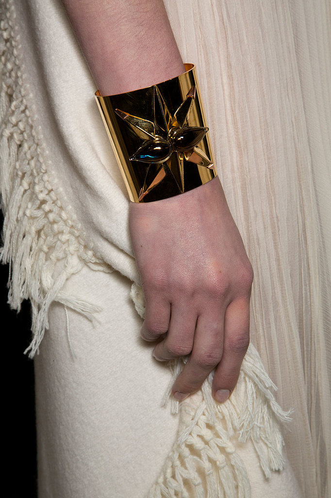 A simple top coat was all that adorned the nails at Christophe Josse.