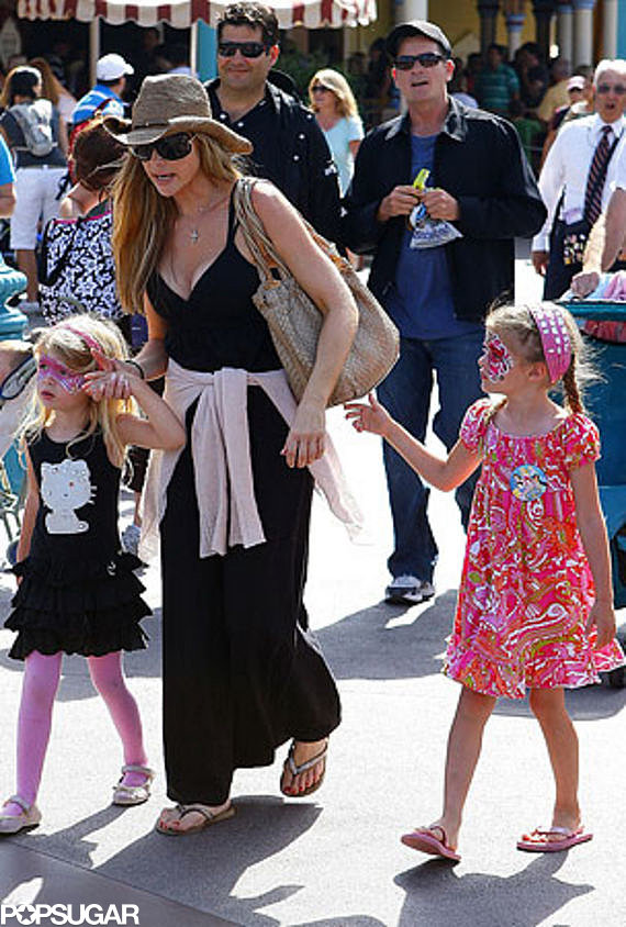 Denise Richards and ex-husband Charlie Sheen put their differences aside to take daughters Lola and Sam to the adventure park.