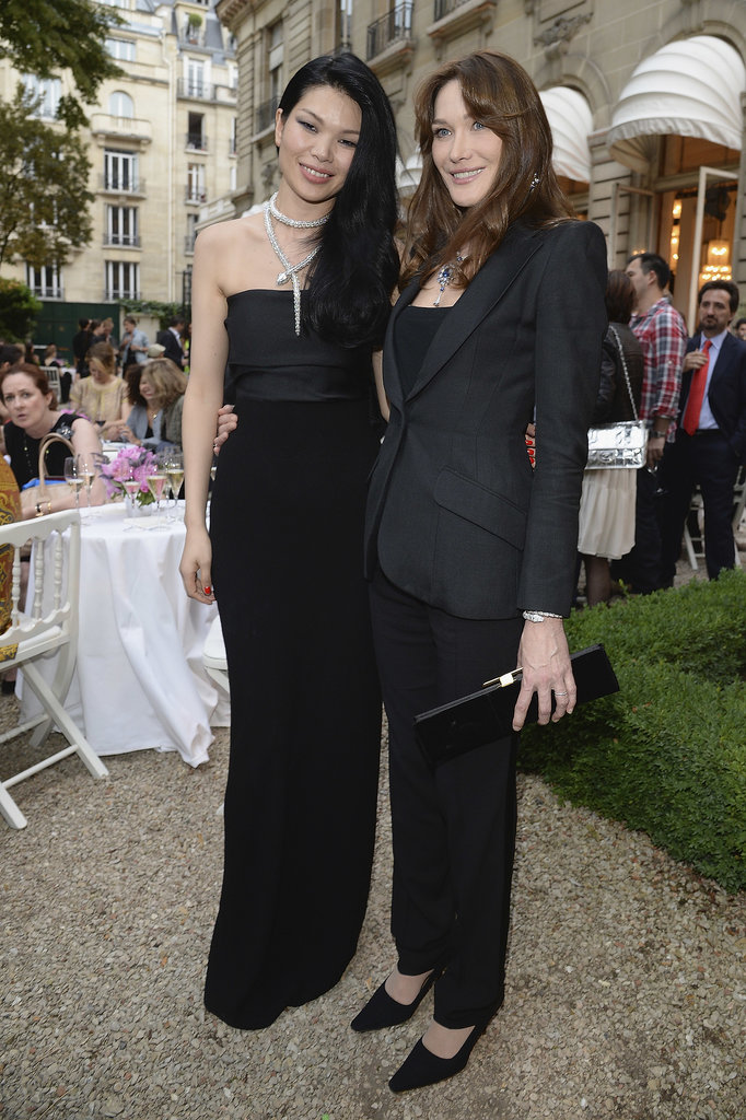 Carla Bruni with Lv Yan at the unveiling of the Bulgari Diva fine jewelry collection in Paris.  Photo courtesy of Bulgari
