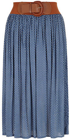 Blue polka dot midi skirt