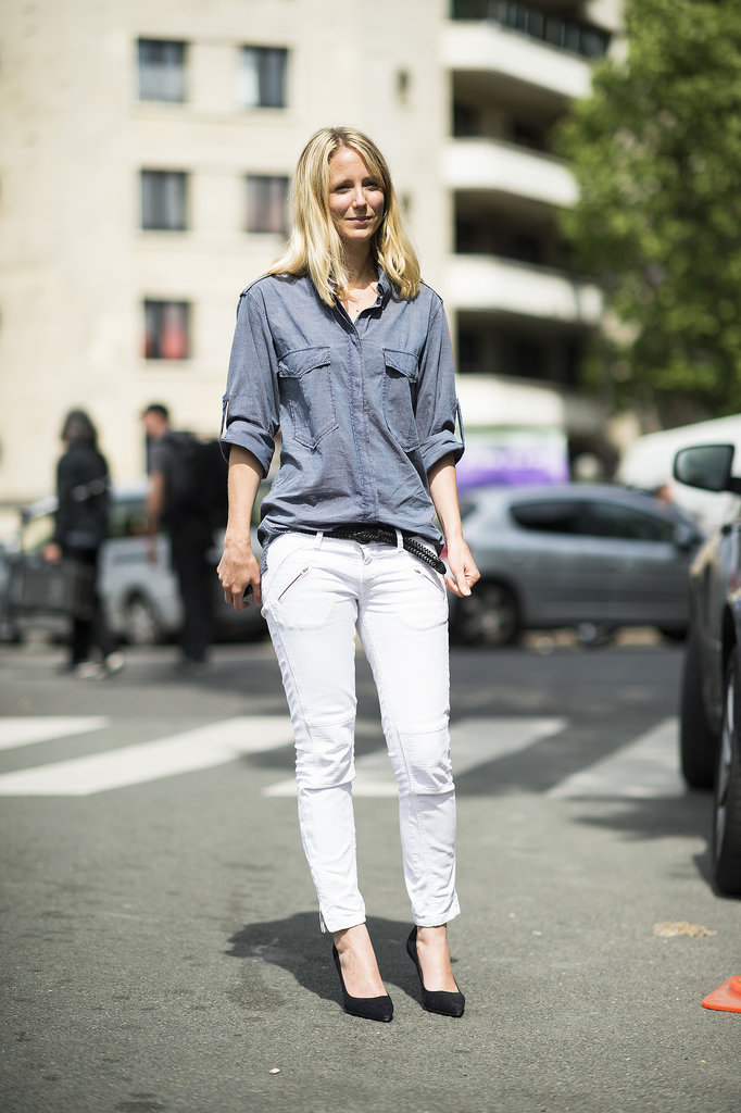 Channel the classics in a button-down and skinny-fit trousers with a pair of staple pumps — the resulting look is undeniably chic. Source: Le 21ème | Adam Katz Sinding