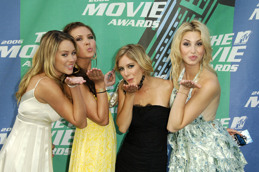 Lauren Conrad, Audrina Patridge, Heidi Montag, and Whitney Port blew kisses on the 2006 MTV Movie Awards red carpet.