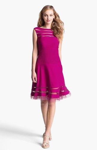 Tadashi Shoji Sleeveless Mesh Stripe Jersey Dress