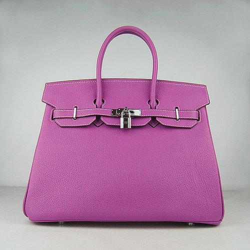 Hermes Birkin Bag 35 Calfskin Silver Hardware (Fuschia)-versandhermes.com