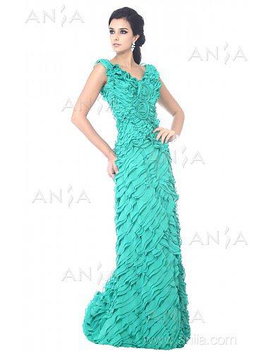 Sheath Column Green V Neck Chiffon Prom Dress F12051