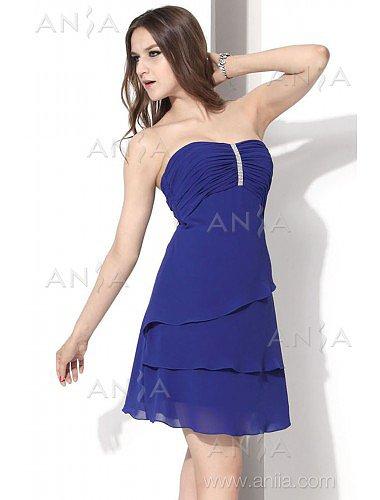 A Line Blue Strapless Chiffon Cocktail Dress E12002