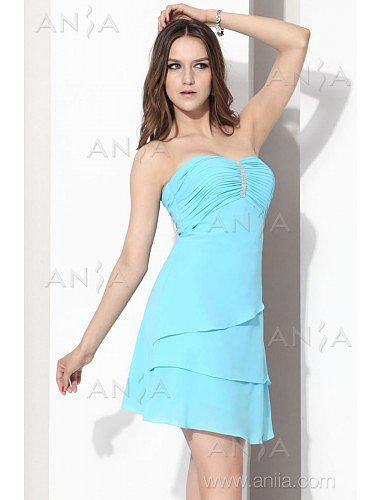 A Line Blue Strapless Chiffon Cocktail Dress E12002g1