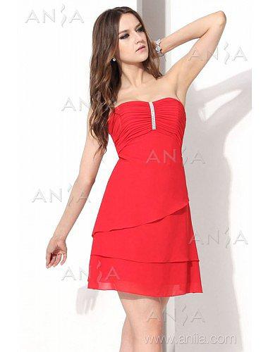 A Line Red Strapless Chiffon Cocktail Dress E12002g3