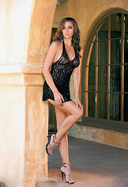 Elegant Moments  EM-1422, Lace Halter Mini Dress-Satin-Boutique.com