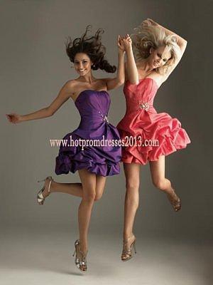 Purple Strapless Chiffon Short Prom Dresses 2013 On Sale