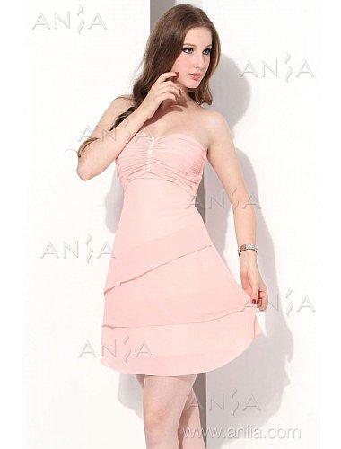 A Line Pink Strapless Chiffon Cocktail Dress E12002g4