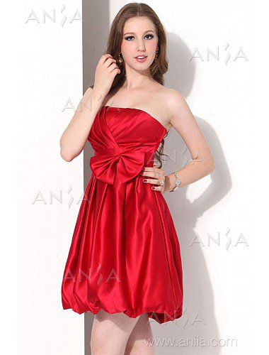 A Line Red Strapless Satin Party Dress E12003