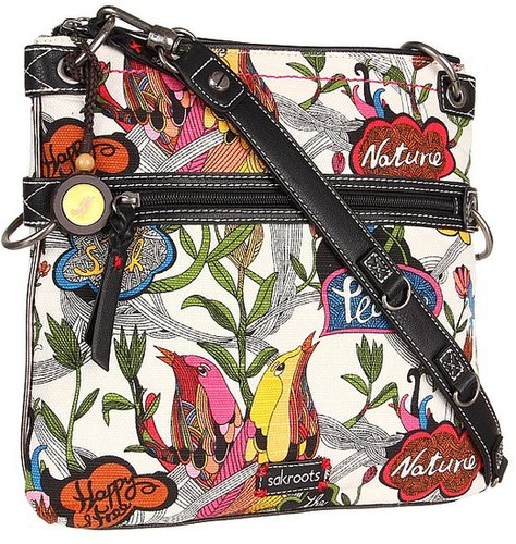 Sakroots - Sak Roots Flat Crossbody (White Peace Print) - Bags and Luggage