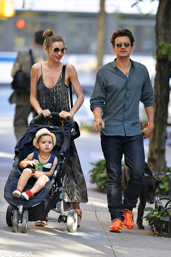 Miranda Kerr and Orlando Bloom walked with Flynn in NYC.