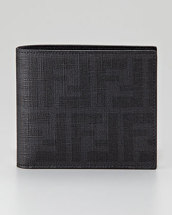 Fendi Zucca Coated Canvas Bi-Fold Wallet, Black
