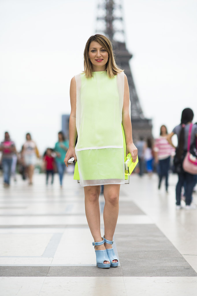 A touch of neon, accented with baby blue shoes, really popped against the Eiffel Tower. Source: Le 21ème | Adam Katz Sinding