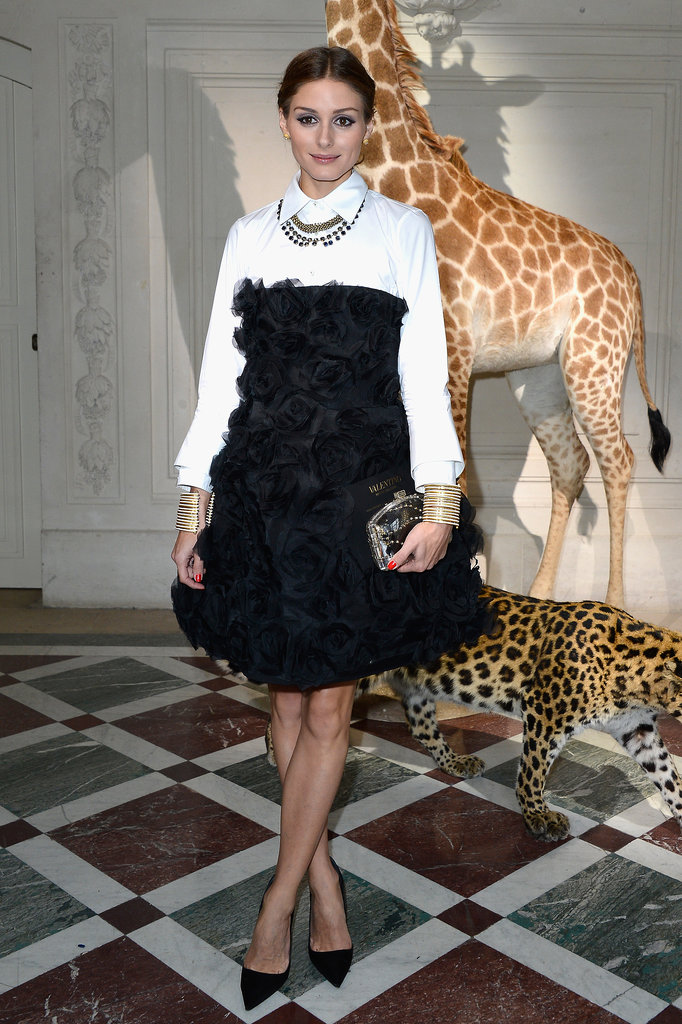 Olivia Palermo wore black and white for the Valentino show in Paris on Wednesday.