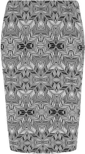 Petite aztec print tube skirt