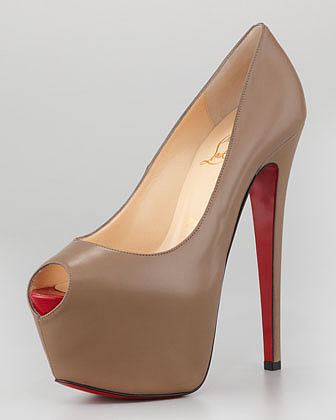 Christian Louboutin Highness Leather Platform Pump, Grege