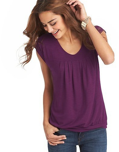 Pleated Detail Banded Hem Tee