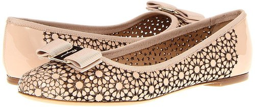 Salvatore Ferragamo - Shelly (New Bisque Laser Cut Patent) - Footwear
