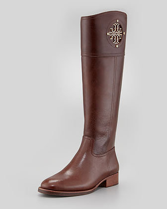 Tory Burch Kiernan Leather Logo Riding Boot, Almond