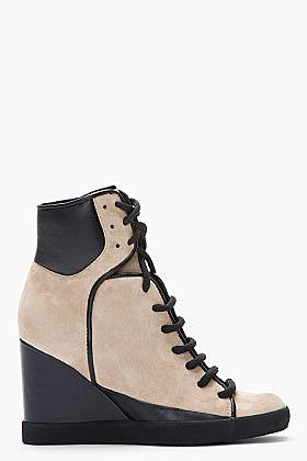 SEE BY CHLOE Taupe Suede Sam Wedge Sneakers