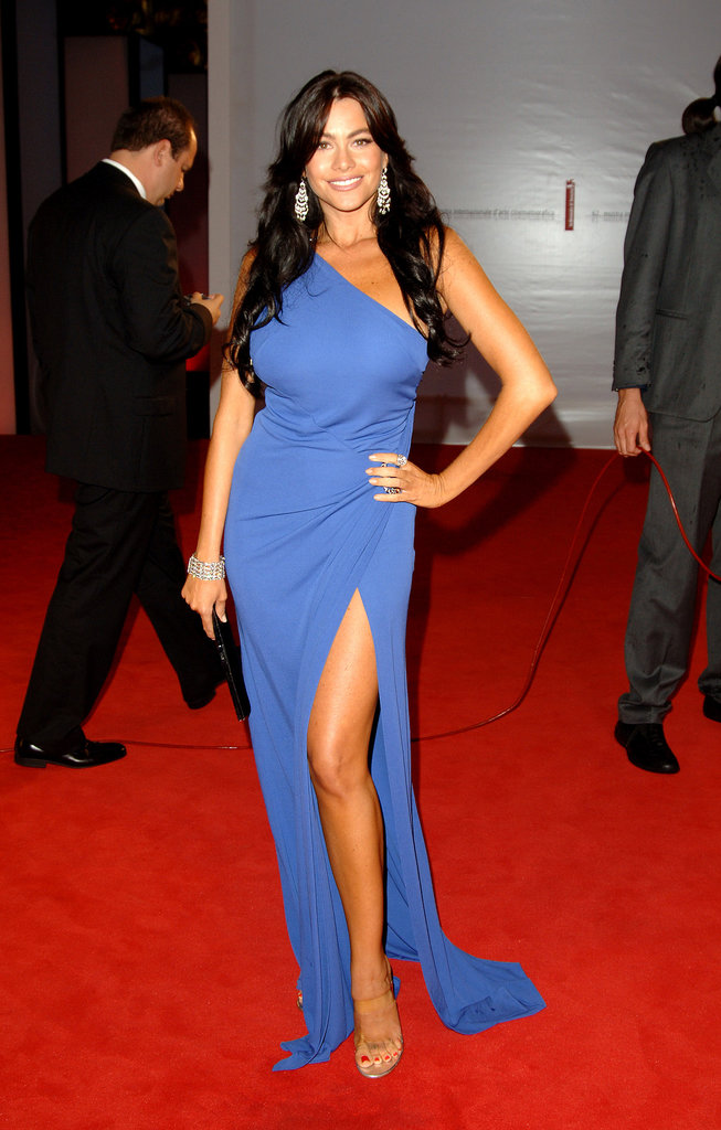 Sofia Vergara showed off her gorgeous gams in a powder-blue one-shouldered gown and PVS-strap sandals at the Venice Film Festival premiere of Four Brothers in 2005.