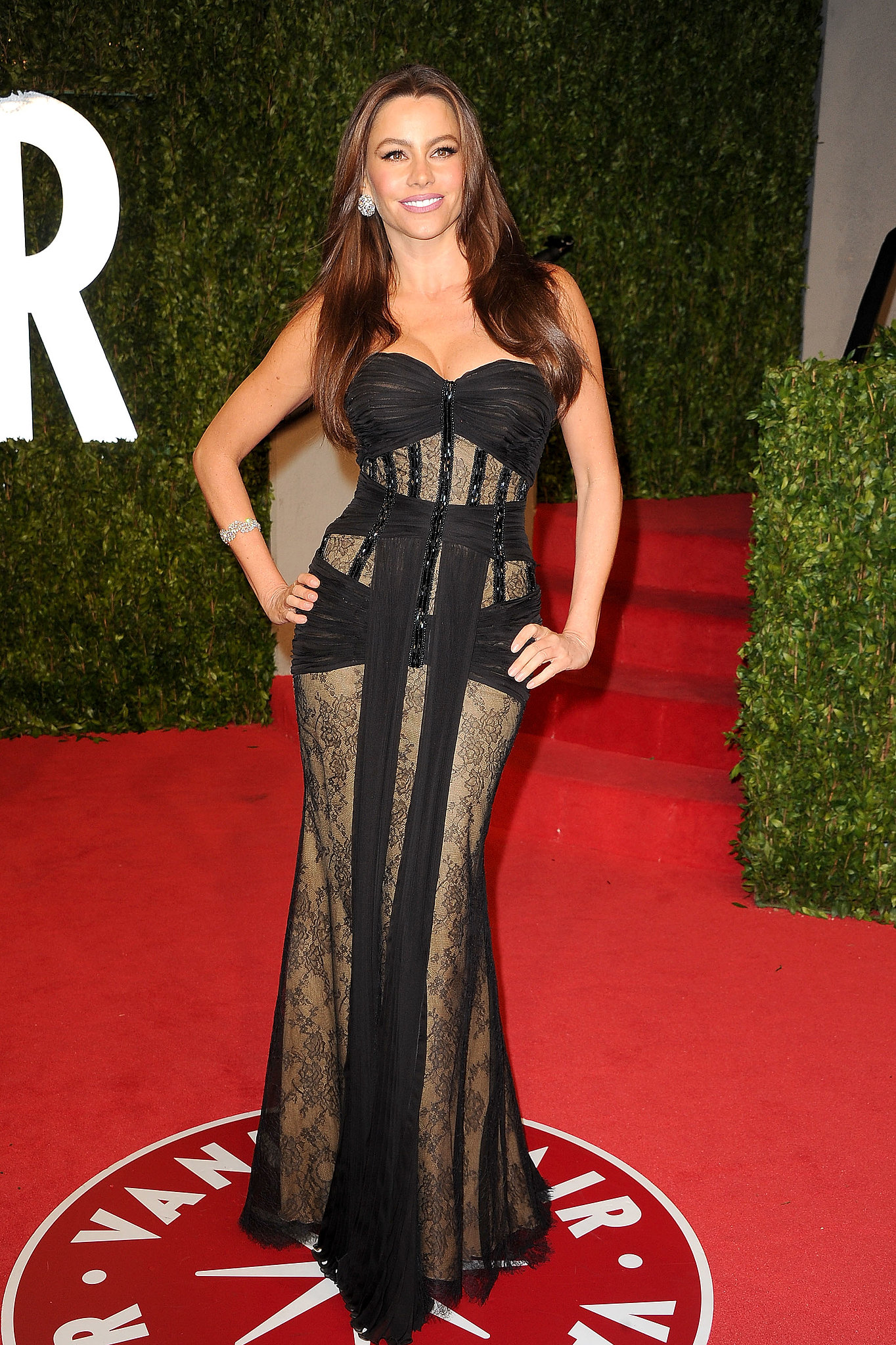 Modern Family's leading lady left little to the imagination in a sexy Zuhair Murad gown, complete with a corseted bodice and lace panels, at Vanity Fair's Oscar party in February 2011.